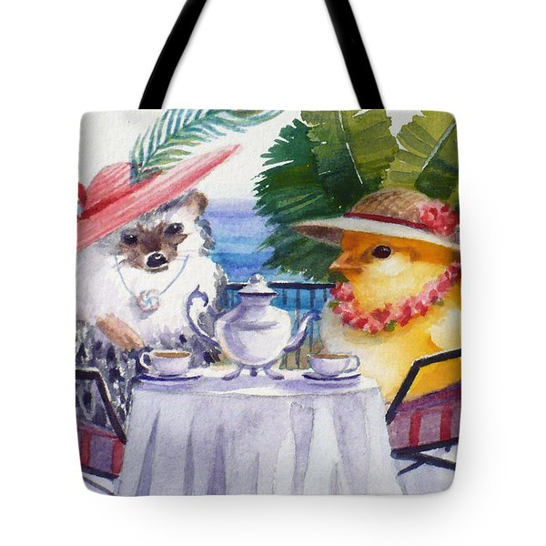 Tea Time For A Baby Chick And Hedgehog Tote Bag
