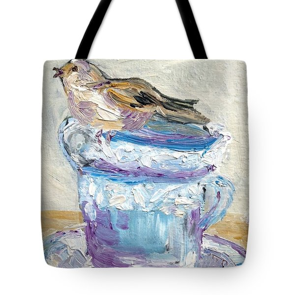 Tote Bag featuring the painting Tea Time  by Reina Resto