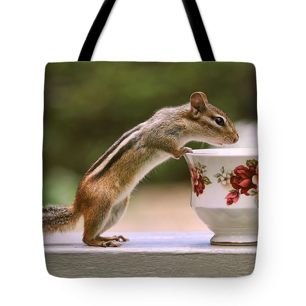 Tote Bag featuring the photograph Tea Time With Chipmunk by Peggy Collins