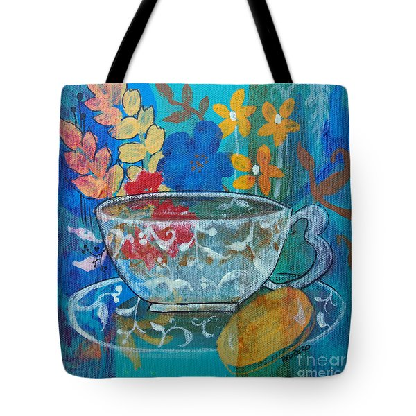 Tote Bag featuring the painting Tea With Biscuit by Robin Maria Pedrero