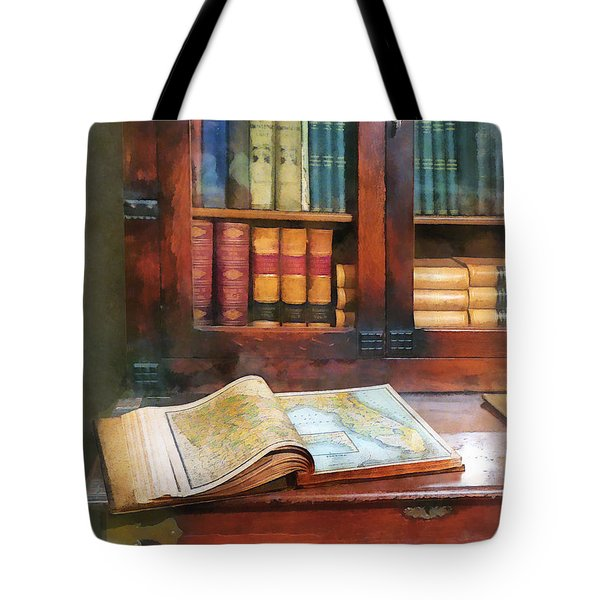 Tote Bag featuring the photograph Teacher - Geography Book by Susan Savad