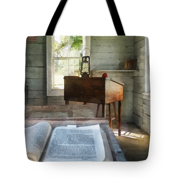 Teacher - One Room Schoolhouse With Book Tote Bag by Susan Savad