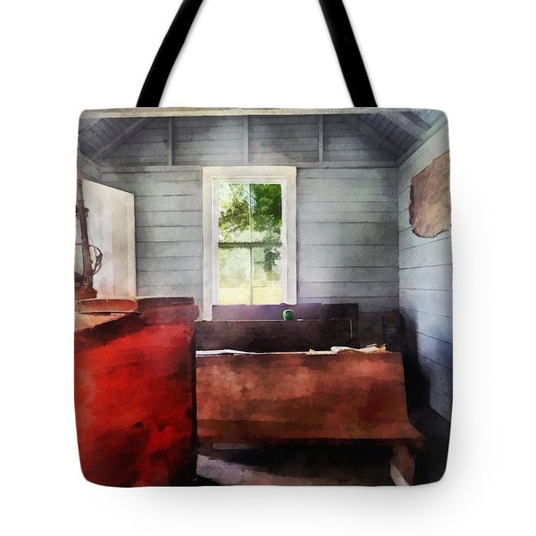 Teacher - One Room Schoolhouse With Hurricane Lamp Tote Bag by Susan Savad