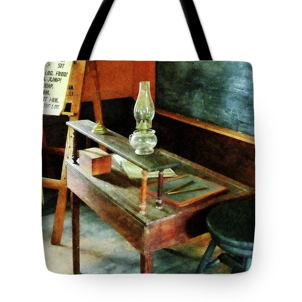Tote Bag featuring the photograph Teacher's Desk With Hurricane Lamp by Susan Savad