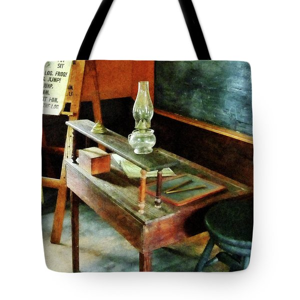 Teacher - Teacher's Desk With Hurricane Lamp Tote Bag by Susan Savad