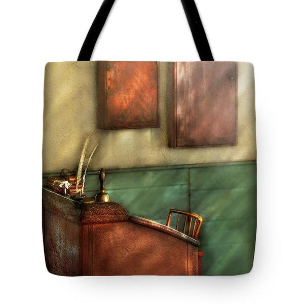 Teacher - The Teachers Desk Tote Bag by Mike Savad