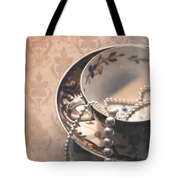 Teacup And Pearls Tote Bag by Jan Bickerton