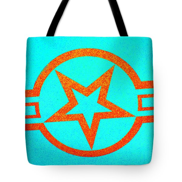 Teal And Rust Fighter Star Tote Bag by Holly Blunkall
