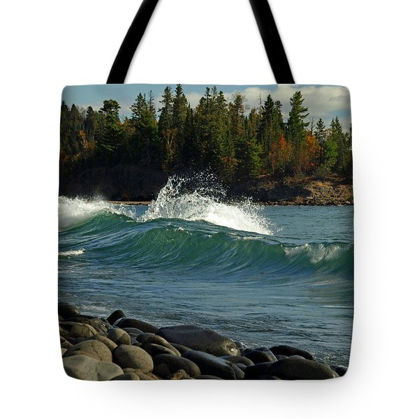 Tote Bag featuring the photograph Teal Blue Waves by Melissa Peterson