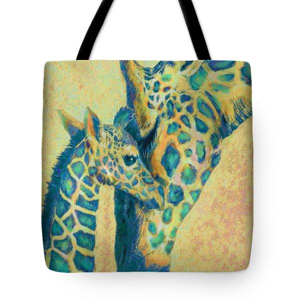 Teal Giraffes Tote Bag