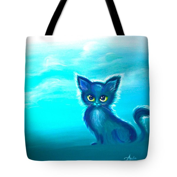 Tote Bag featuring the painting Teal Meadow by Agata Lindquist