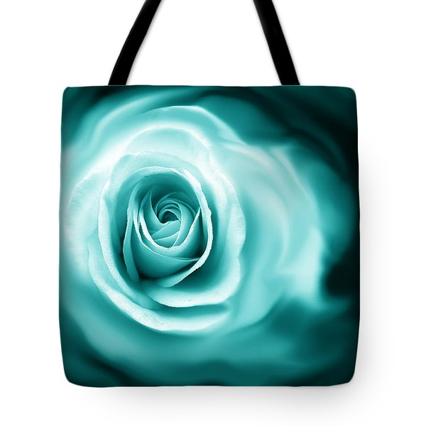 Teal Rose Flower Abstract Tote Bag