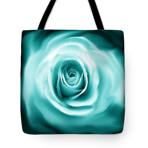 Teal Rose Flower Abstract Tote Bag by Jennie Marie Schell