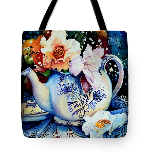 Teapot Posies And Lace Tote Bag by Hanne Lore Koehler