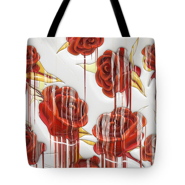 Tote Bag featuring the digital art Tear-stained Roses by Liane Wright