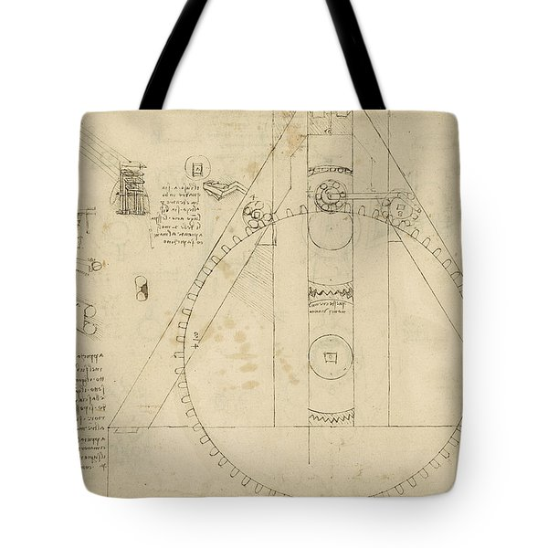 Teaseling Machine From Atlantic Codex Tote Bag by Leonardo Da Vinci