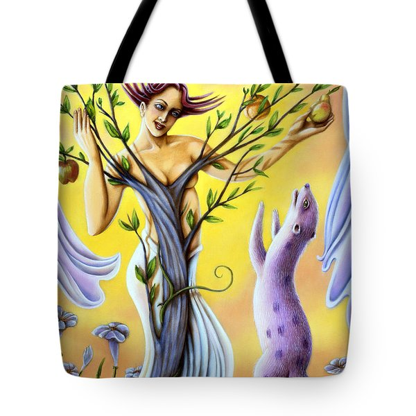 Tote Bag featuring the painting Teasing The Weasel by Valerie White