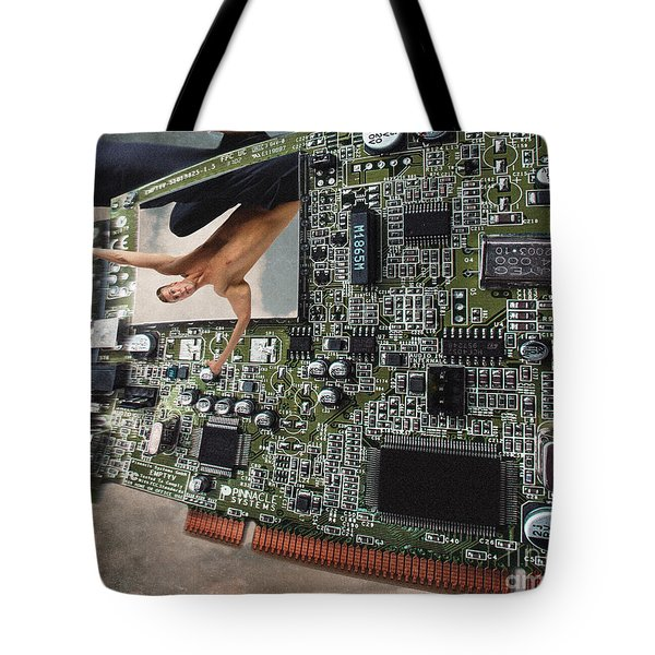 Circuit Board Electronic Art Technobat Abstract Tote Bag
