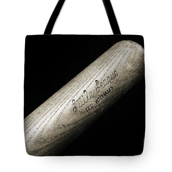 Ted Williams Little League Baseball Bat Bw Tote Bag by Andee Design