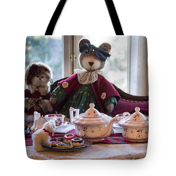 Teddy Bear Tea Party Tote Bag by Patricia Babbitt