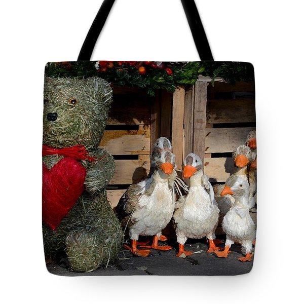 Teddy Bear With Flock Of Stuffed Ducks Tote Bag by Imran Ahmed