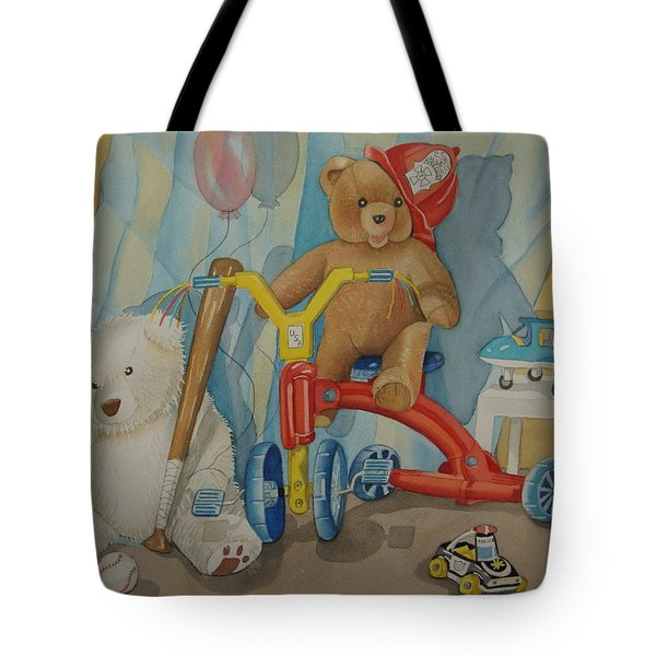 Teddy On A Bike Tote Bag