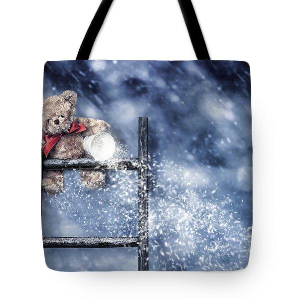 Teddy Throwing Snow Tote Bag