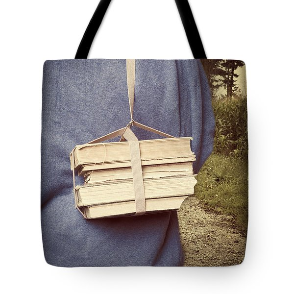 Teen Boy's Back With Books Tote Bag by Edward Fielding