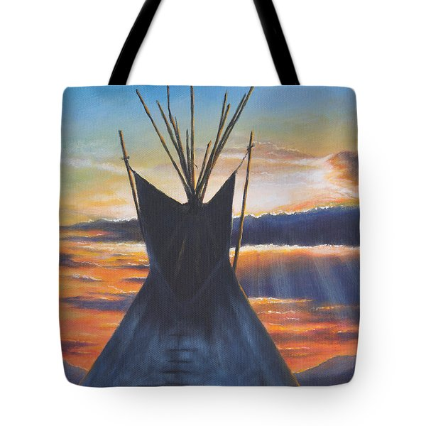 Tote Bag featuring the painting Teepee At Sunset Part 1 by Kim Lockman