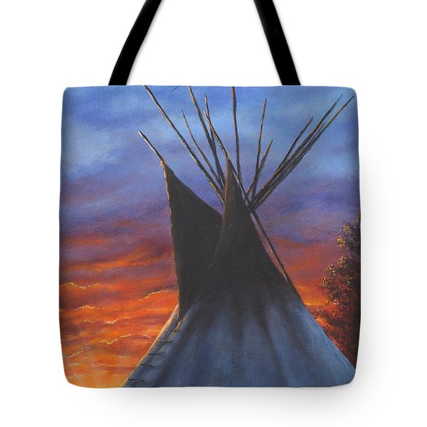 Tote Bag featuring the painting Teepee At Sunset Part 2 by Kim Lockman