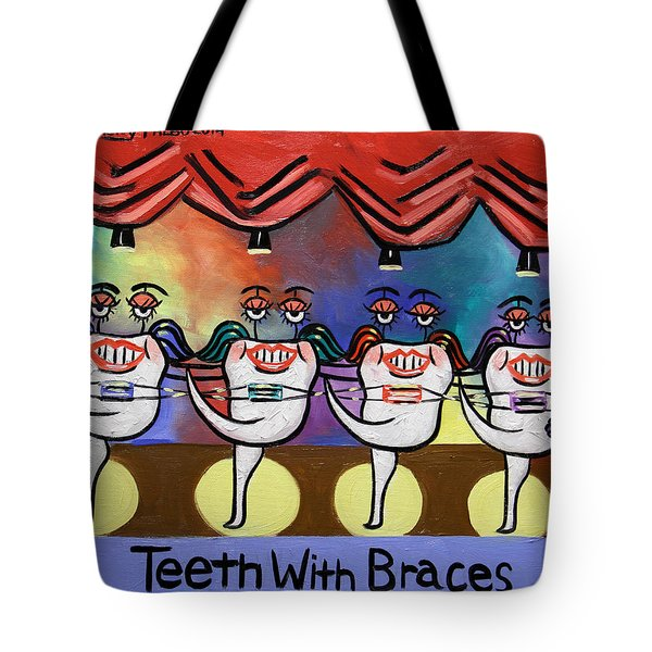 Tote Bag featuring the painting Teeth With Braces Dental Art By Anthony Falbo by Anthony Falbo
