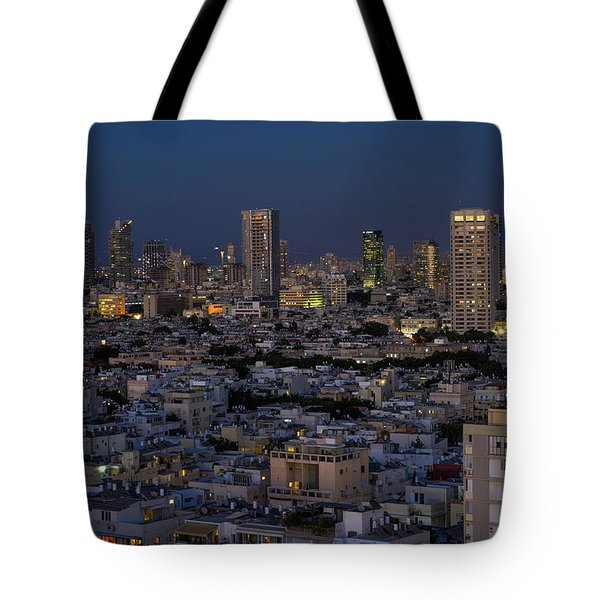 Tote Bag featuring the photograph Tel Aviv At The Twilight Magic Hour by Ron Shoshani