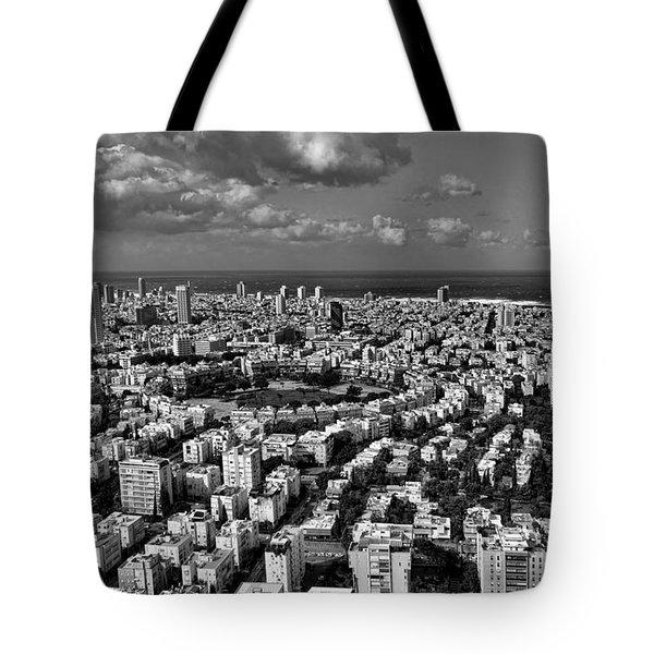Tel Aviv Center Black And White Tote Bag by Ron Shoshani
