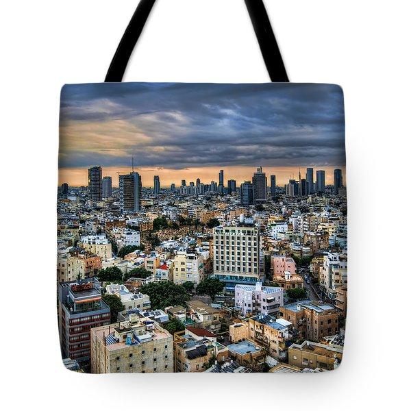 Tel Aviv Skyline Winter Time Tote Bag by Ron Shoshani