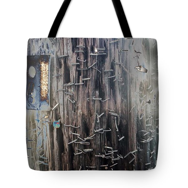 Telephone Pole With Scars From The Past Tote Bag
