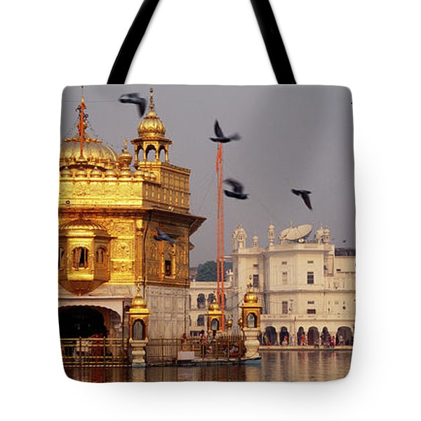 Temple At The Waterfront, Golden Tote Bag