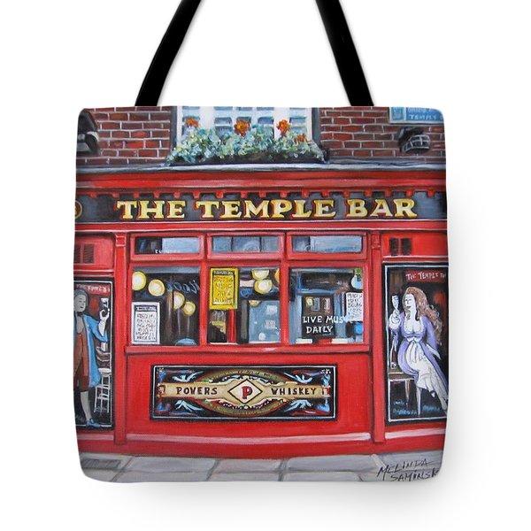 Tote Bag featuring the painting Temple Bar Dublin Ireland by Melinda Saminski