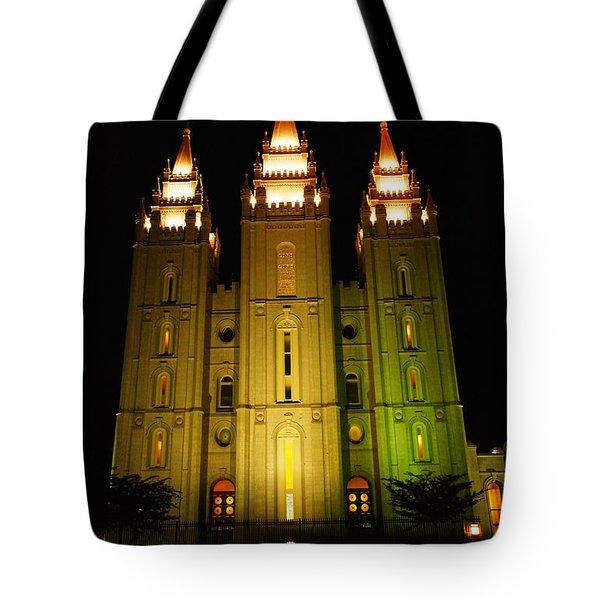 Temple In Salt Lake City Tote Bag by Jeff Swan
