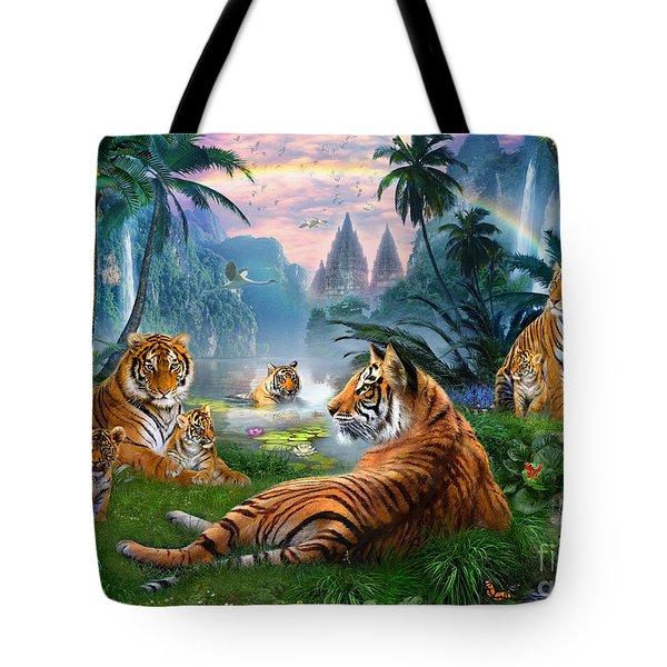 Temple Lake Tigers Tote Bag by Jan Patrik Krasny