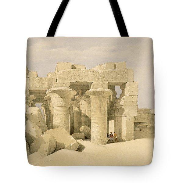 Temple Of Sobek And Haroeris At Kom Ombo Tote Bag by David Roberts