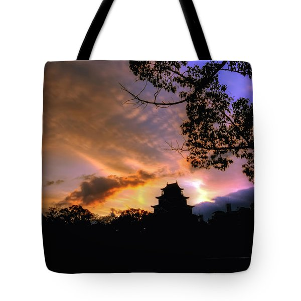 Tote Bag featuring the photograph A Temple Sunset Japan by John Swartz