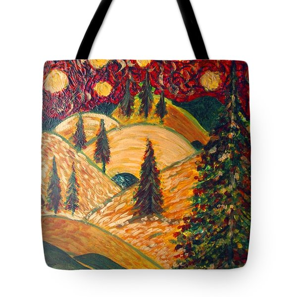 Ten Moons In Scarlet Sky Tote Bag