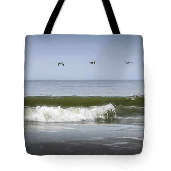 Tote Bag featuring the photograph Ten Pelicans by Steven Sparks