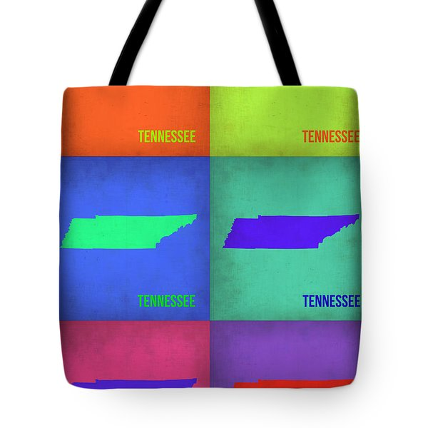 Tennessee Pop Art Map 1 Tote Bag by Naxart Studio