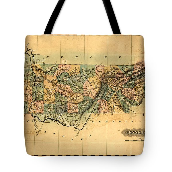Tennessee Vintage Antique Map Tote Bag by World Art Prints And Designs