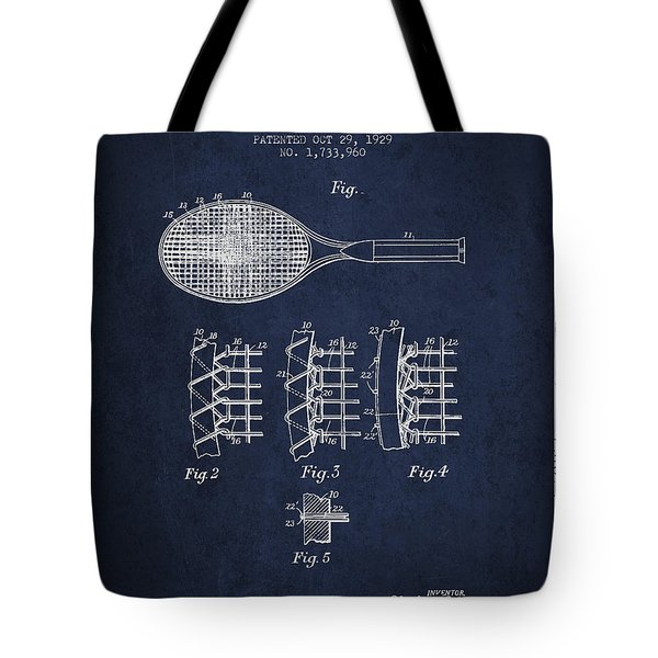 Tennnis Racket Patent Drawing From 1929 Tote Bag by Aged Pixel