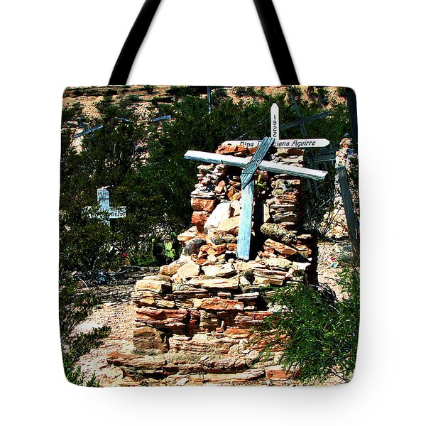 Tote Bag featuring the photograph Terlingua Cross by Linda Cox