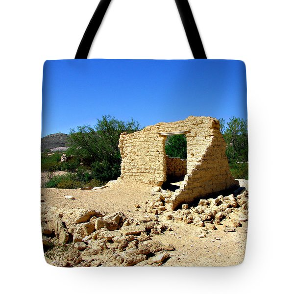 Terlingua Texas Ghost Town Tote Bag by Linda Cox
