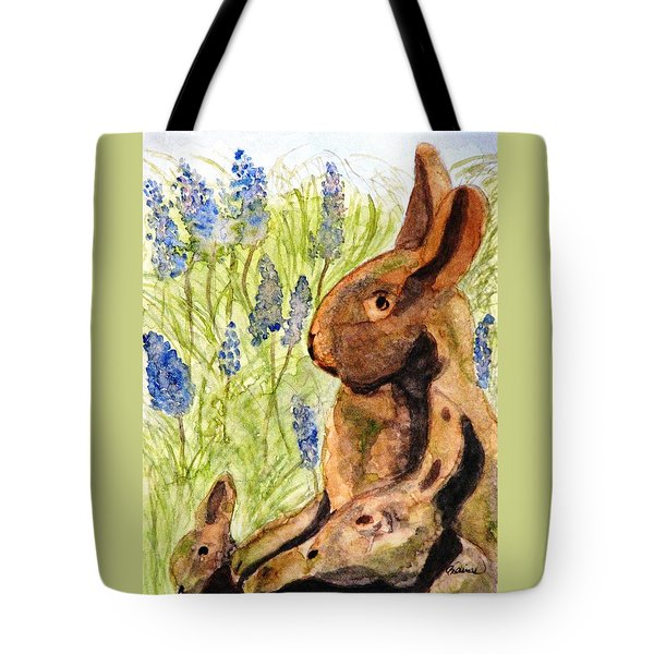 Terra Cotta Bunny Family Tote Bag by Angela Davies