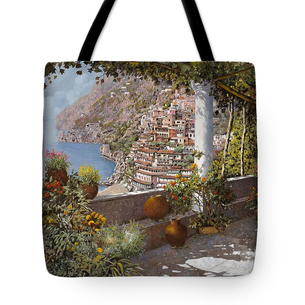 Tote Bag featuring the painting terrazza a Positano by Guido Borelli